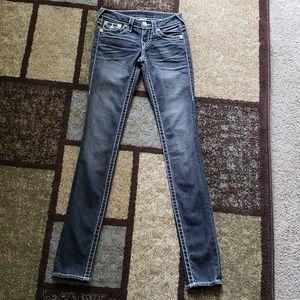 True Religion Black Skinny Distressed Jeans Sz 24